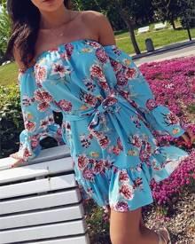ivrose Floral Print Shirring Off Shoulder Flare Sleeve Mini Dress