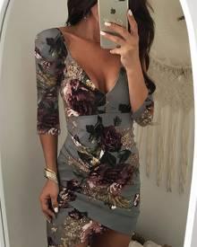 ivrose Floral Deep V Backless Asymmetric Bodycon Dress