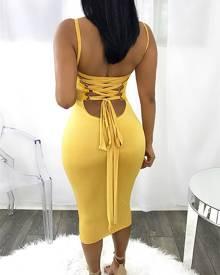 ivrose Sexy Bandage Strappy Back Bodycon Dress