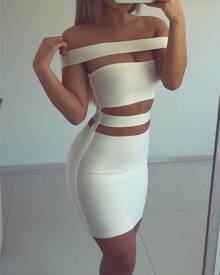 ivrose Sexy Strapless Cut Out  Bodycon Dress-White