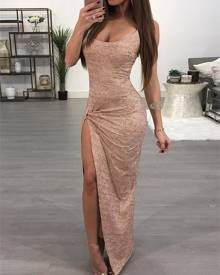 ivrose Glittering High Slit Maxi Slip Dress