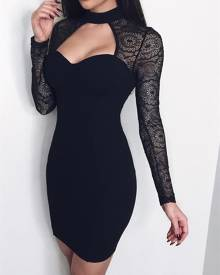 ivrose Splicing Lace Cut Out Bodycon Dress