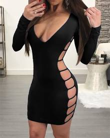 ivrose Low Cut Side Ladder Cut Out Bodycon Dress