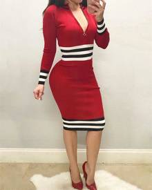ivrose Striped Front Zipper Bodycon Dress