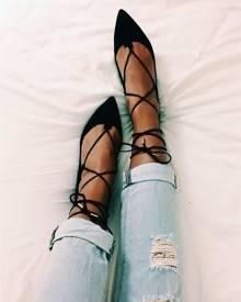 ivrose Lace Up Flats Shoes - Black