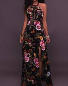 ivrose Vintage Floral Halter Backless High Slit Maxi Dress