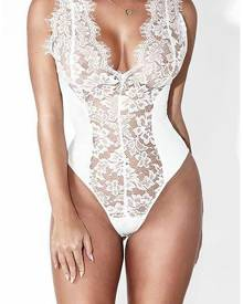 ivrose Sexy Eyelash Lace Patchwork Slinky Bodysuit - White