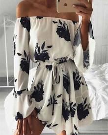 ivrose Floral Flare Sleeve Pleated Casual Mini Dress