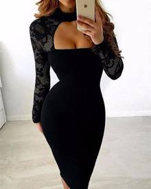 ivrose Sexy See Through Cut Out Bodycon Dress