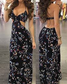 ivrose Vintage Women Floral Maxi Slip Dress
