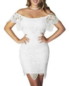 ivrose Crochet Lace Off Shoulder Bodycon Mini Dress