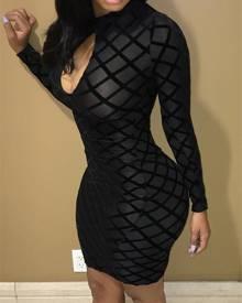 ivrose Sexy Cut Out Mesh Bodycon Dress