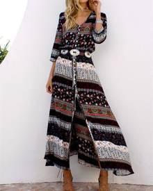 ivrose Ethnic Style Printed Bandage Boho Maxi Dress