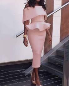 ivrose Women Slash Neck Fold-over Shoulder Peplum Bodycon Dress