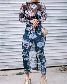 ivrose Floral See Through Bodycon Midi Dress