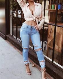 ivrose Destroyed Skinny Jeans - Blue