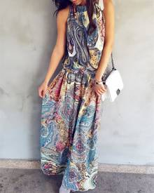 ivrose Fashion Halter Printed Shirring Waist Boho Maxi Dress