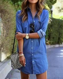 ivrose Trendy Buttoned Denim Shirt Dress