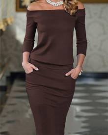 ivrose Elegant Slash Neck Pocket Bodycon Pencil Dress