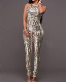 ivrose Sequins Geometric Open Back Skinny Jumpsuit
