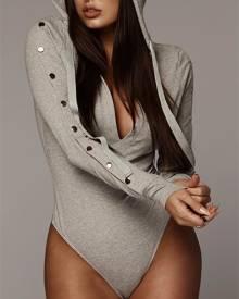 ivrose Snap-button Sleeve Drawstring Hoodie Bodysuit