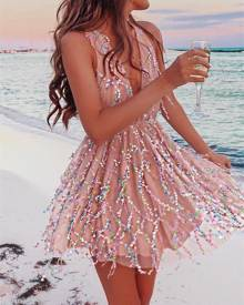 ivrose Sequins Halter Deep V Backless Mini Dress