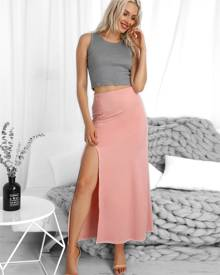 ivrose Halter Backless Patchwork Side Slit Maxi Dress