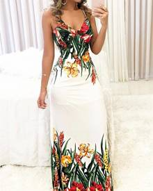 ivrose Floral Print Deep V Slip Maxi Dress