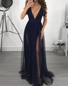 ivrose See Through Mesh Plunge Slip Maxi Dress