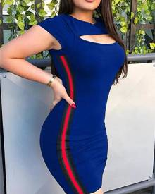 ivrose Side Striped Cut Out Front Bodycon Dress