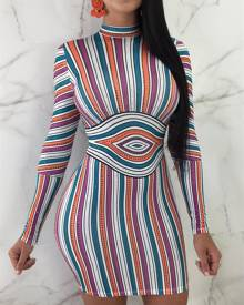 ivrose Slinky Colorful Striped Bodycon Dress