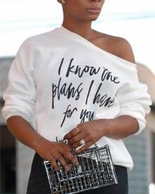 ivrose Skew Neck Letter Print Long Sleeve T-shirt