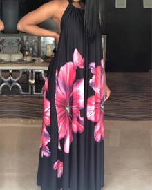 ivrose Floral Halter Backless Pleated Maxi Dress