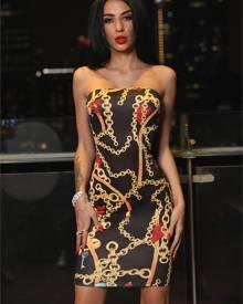 ivrose Strapless Chains Print Bodycon Tube Dress