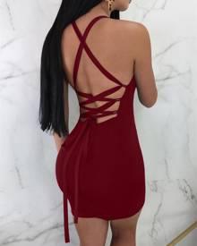 ivrose Plunge Crisscross Backless Bodycon Mini Dress