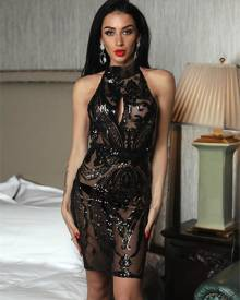 ivrose Sexy Sequins Cut Out Backless Bodycon Dress