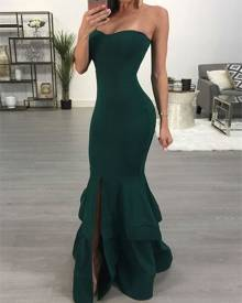 ivrose Strapless Slit Mermaid Maxi Bodycon Dress