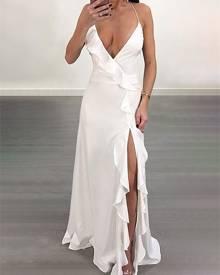 ivrose High Slit Ruffled Lace-up Open Back Maxi Dress