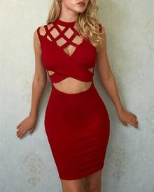 ivrose Sexy Cut Out Crisscross Cocktail Party Bodycon Dress