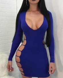 ivrose Low Cut Side Ladder Cut Out Bodycon Dress
