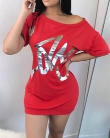 ivrose Leisure Skew Shoulder Letter Print Mini Dress