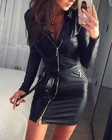 ivrose Skinny Zipper Bowtie Tied Mini Dress