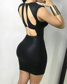 ivrose Sexy Cut Out Back Cocktail Bodycon Mini Dress