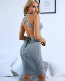 ivrose Sexy Halter Neck Backless Cocktail Party Bodycon Dress