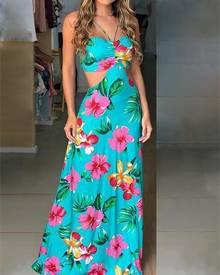 ivrose Floral Print Cutout Waist Halter Maxi Dress