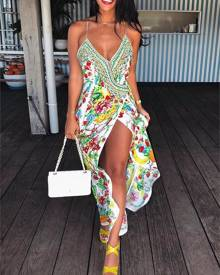 ivrose Boho Print High Slit Deep V Slip Maxi Dress