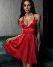 ivrose Deep V Backless Pleated Slip Party Dress