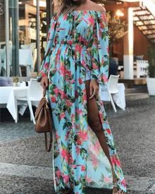ivrose Floral Off Shoulder High Slit Maxi Dress