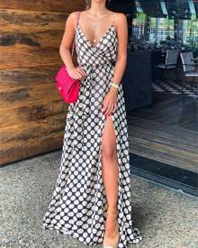 ivrose Polka Dots Print High Slit Slip Maxi Dress