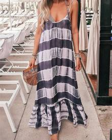 ivrose Tie Dye Stripes Pep Hem Maxi Slip Dress